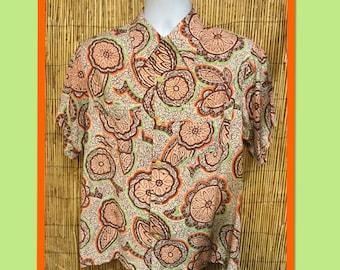 Vintage 1940s/50s rayon print shirt