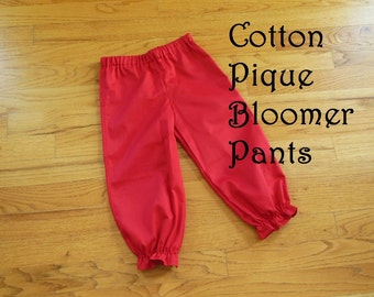 GIRLS Bloomer Pants Pantaloons for Baby or Toddler Girls in COTTON PIQUE solids - color choice - 6 months to size 8