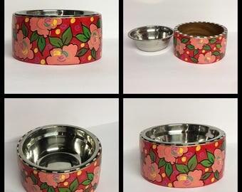 Pet feeder, dog bowl, cat bowl, whimsical painted pet bowl, pedestal bowl