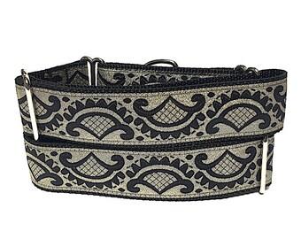 martingale collar, dog collar, gold, black, EMPERORS ROBE, Safety Collar, Greyhound Collar, Sighthound Collar, metallic martingale,
