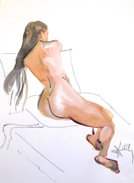 Nude painting- Original watercolor painting of Nude #1364 by Gretchen Kelly
