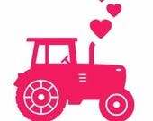 Farm Tractor Love Vinyl Car Decal Bumper Window Sticker Any Color Multiple Sizes Jenuine Crafts
