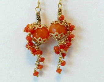 Carnelian Cluster Earrings-Gem Cluster Earrings-Carnelian Earrings-Carnelian Cascade Earrings-Carnelian Dangle Earrings-Gemstone Earrings