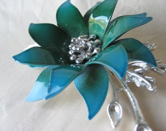 Flower Turquoise Teal Blue Brooch Enamel Silver Vintage Pin