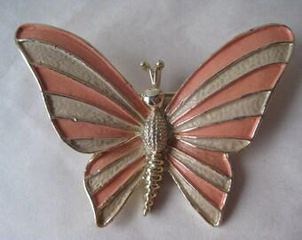 Butterfly Orange Gold Brooch Vintage Pin Stripe