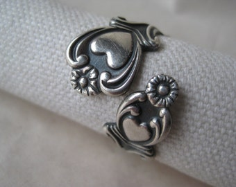 Heart Flower Sterling Ring Adjustable Silver Vintage 925 Avon