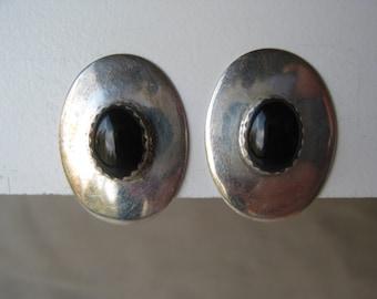 Onyx Black Oval Sterling Earrings Clip Vintage 925 Southwest Cab Stone TC