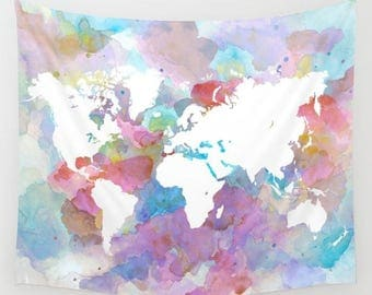 Wall Tapestry Wall Hanging Sofa Throw Design 48 World map pink blue aqua Home Decor art L.Dumas