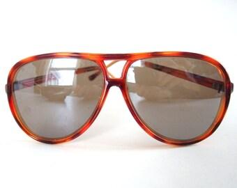 Vintage 1980's Plastic Tortoise Shell Aviator Sunglasses