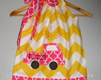 Dress Fire Truck dress  PINK Yellow Chevron appliqued pillowcase dress sizes 3,6,9,12,18 months , 2t, 3t, 4t, 5t, 6,7,8,