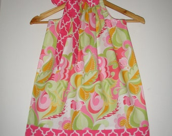 Dress girl Green  PINK floral  Riley Blake fabric   pillowcase dress  3,6,9,12,18 months ,2t,3t,4t,5t,6,7,8,10,12