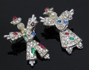 Vintage Scatter Pins Brooch Rhinestone Articulated Figural Set Pin Boy Girl P4463