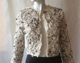 MOVING 4 GRADSCHOOL SALE Hand knotted and beaded cropped jacket, cream raw edge cotton handpainted with brown, with scattered wood beads, ab