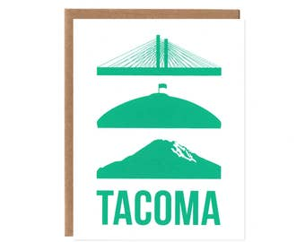 Tacoma Icon Card -- Tacoma Dome and Mount Rainier Card