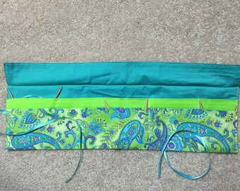 Circular Knitting Needle Case Organizer-Paisley Green