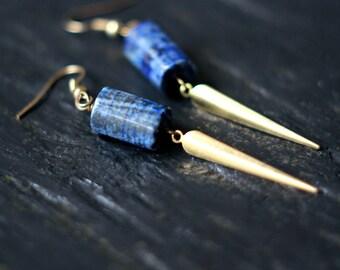 Lapis Lazuli Dagger Earrings, Dagger Dangles, Blue Gemstone Earrings, Glittery Pyrite, Brass, Boho Jewelry
