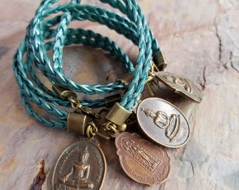 Buddha Bracelet, Metallic Teal Blue Braided Leather