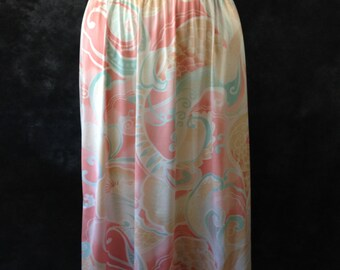 Vintage 1970's 1980's Vanity Fair pastel paisley swirl print half slip Med TT