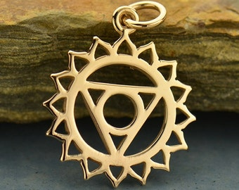 Throat Chakra Necklace - Natural Bronze Pendant - 14K Gold Filled Delicate Chain - Insurance Included