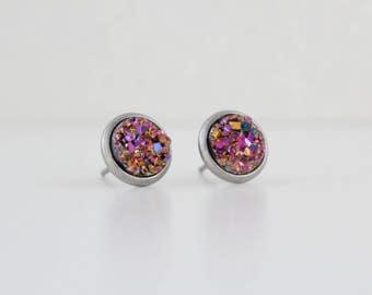 Pink Gold Blue Druzy Crystal Earrings | ATL-E-213