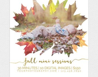 DIY Fall Mini Session Template, Fall, Autumn, Instant Download, Photographer Marketing, Photoshop, Facebook, PSD, Mini Session, Leaves