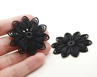 2 Black Flexible Rubber Gothic Boho Filigree Flowers - 41mm