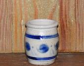 Antique Miniature Salt Glazed Blue Decorated Crock
