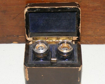 Antique Vantine's Lacquered Wood Perfume Caddy Velvet lined Box and Glass Perfume Bottles