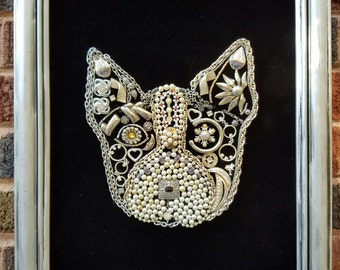 """Upcycled Costume Jewelry Boston Terrier Head """"Painting"""" on Velvet Silver Frame"""
