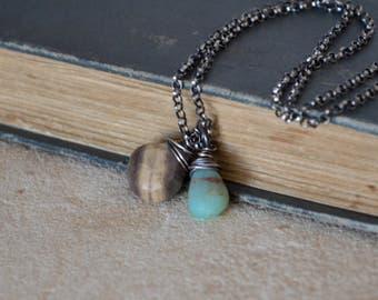Petrified Wood Peruvian Blue Opal Necklace