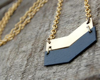 Brass and Leather Arrow Necklace