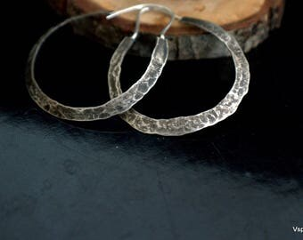 Big silver hoop earrings handmade artisan silver jewelry Eco friendly Boho Gypsy