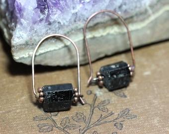 Black Tourmaline Earrings Rough Nugget Copper Hoop Earrings Raw Crystal Boho Rustic