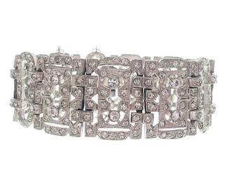 Antique Art Deco Bracelet, 1920s Original Art Deco Jewelry, Designer Vintage Rhinestone Link, Fine Art Deco Wedding Jewelry