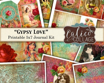 Gypsy Love, Junk Journal Kit, Journal Pages, Digital Paper, Gypsy Rose, Vintage Flowers, Printable Ephemera, Printable Journal, Digikit
