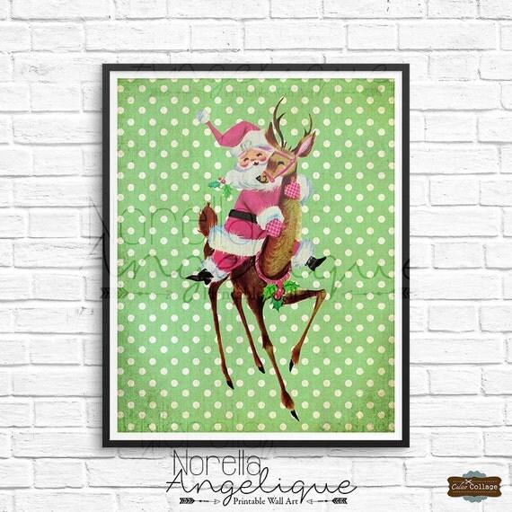 Vintage Christmas Wall Decor : Retro christmas printable wall art digital download jolly