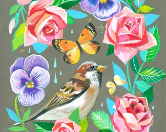 Sparrow in Roses art print | Floral Artwork | Bird Painting | Katie Daisy | 8x10 | 11x14