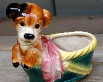 Vintage Royal Copley USA Pottery Dog Planter Vase