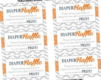 Diaper Raffle Insert Cards Navy Gray & Orange Baby Boy Shower matching, Printable INSTANT DOWNLOAD