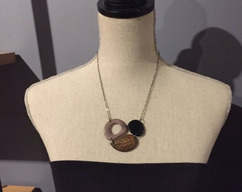 Brown leaf, black and gray tagua pieces necklace