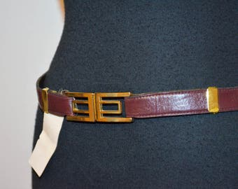 Vintage NOS Deadstock brown cinch leather with gold tone buckle Adjustable Womens belt men style. Narrow Skinny Belt geometric. 31 or less