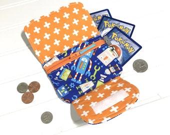 Robot zipper wallet,  Kids wallet, Zipper pouch, Mini wallet, Wrist wallet, Boys wallet, Money holder, Gift card holder, Robot toy, Robots