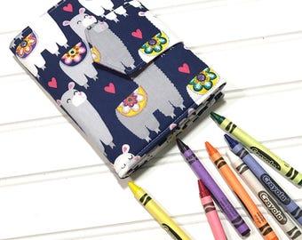 Llama crayon wallet, Coloring book, Washable toy, Crayon case, Crayon roll up, Llama gift, Kids crafts, Crayon holder, Girls wallet, Art kit