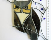 Owl stained glass window corner / top right corner position / gift