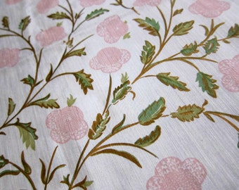 Raoul Textiles Victoria India Colorway, 2.5 Yards Hemp and Silk Blend Cream Colored Fabric with Pale Pink Flowers and Multi Green Leaves