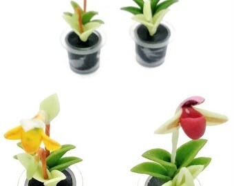 Orchids Miniature Polymer Clay Handmade Flowers for Dollhouse, set of 4 pieces