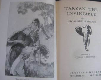 "1931 Hardback Edition ""Tarzan the Invincible"" by Edgar Rice Burroughs Vintage"