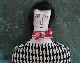 Folk art doll, hand painted face, woman doll, shelf sitter doll, number two