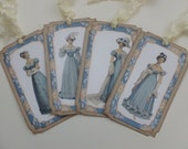 Jane Austen era or Regency fashion gift tags, bookmarks, blue and beige, floral, vintage style,  gift for her - set of 4