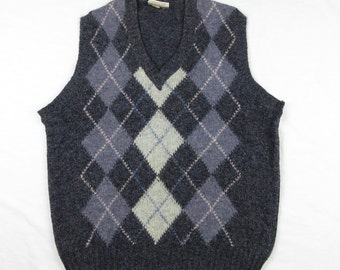 Vintage Argyle Shetland Wool Sweater Vest, Made in Ireland, Sz M